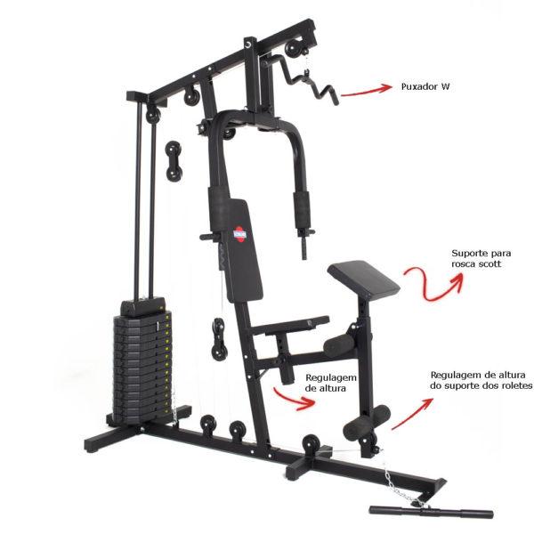 Estação de musculação 2810 plus com 100kg Diferencias