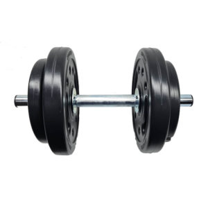 kit 1 barra 40cm + 20kg anilhas